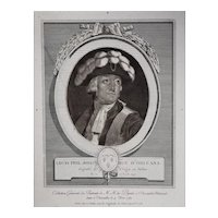1789 Engraving Portrait, French Revolution History Print, Le Vachez