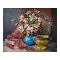 Still Life whit Flowers Oil Painting, Alexis Hinsberger (1907-1996)