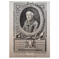 18th Century Bishop Portrait - Original French Engraving Circa 1780 - François Hubert (1744-1809)