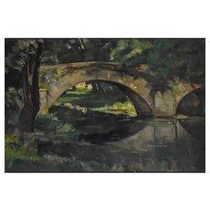 Eugène Huc (1891-1979), French Old Bridge Oil on Canvas Painting, Circa 1920