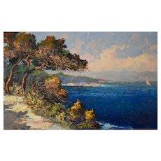 Fernand van den Bussche, French Riviera Landscape Painting, Circa 1950