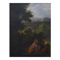 Landscape Oil Painting, 18th Century Gallant Scene Painting, French School Circa 1770