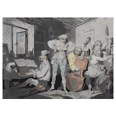 Rowlandson / Alken Satirical Colored Print, Caricature of an Italian Musicians, 1785