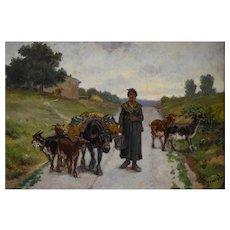 Théodore Jourdan, Pastoral Scene Oil Painting, Circa 1880