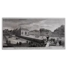 French Chateau, Original 19th Century Engraving after Jacques Rigaud (1681-1754)