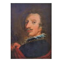 19th Century Portrait Painting,  Oil on Wood English Painting,  Framed Painting Portrait