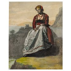 19th Century Watercolour Painting, Italian Woman Portrait, Spanish Art
