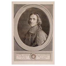 1783 Portrait of a Man, French 18th Century Engraving,  Portrait of François Fénelon