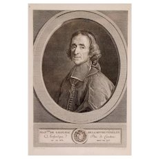 1783 Portrait of a Man, French 18th Century Engraving,  Portrait of François Fénelon