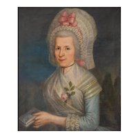 18th Century French Oil Woman Portrait Painting, Pierre Jouffroy