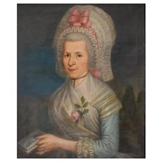 18th Century French Oil Woman Portrait Painting, Pierre Jouffroy (1718-1796)