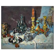 Still Life Oil Painting, Unframed 1960's French Painting, Alfred Chagniot (1905-1991)