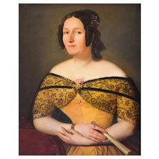 Woman Portrait, 19th Century French Painting,  Oil on Canvas Portrait Circa 1840