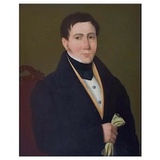 Man Portrait, 19th Century Framed Painting, Oil on Canvas Portrait Circa 1840