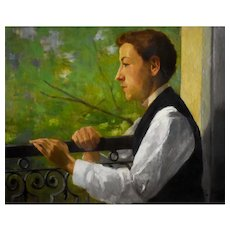1898 Oil on Canvas Portrait,  French Young Man Portrait,  Léon Deshairs (1874-1967)