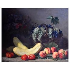 Still Life Oil Painting, Original 1885 French Painting, Jacques Delanoy (1820-1890)