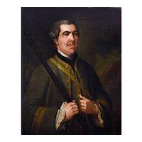Oil Portrait Painting, 1758 Hunter Portrait, Oil on Canvas, Georges de Roose (1701-1765)