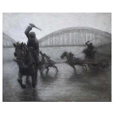 Original Pastel Painting, French Bridge Scene Artwork, Circa 1930