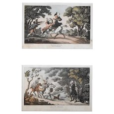 1813 Aquatint Prints, Two Original Doctor Syntax Prints, Thomas Rowlandson