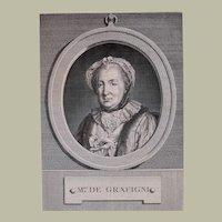 1772 Portrait Print, French Woman Engraving Portrait, Pierre Charles Lévêque