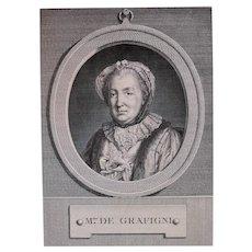 1772 Portrait Print, French Woman Engraving Portrait, Pierre Charles Lévêque (1736-1812)