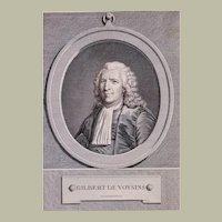 1771 Print Portrait, French Engraving Man Portrait, Pierre Charles Lévêque