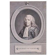 Original Print Portrait, 1771 French Engraving Man Portrait, Pierre Charles Lévêque (1736-1812)