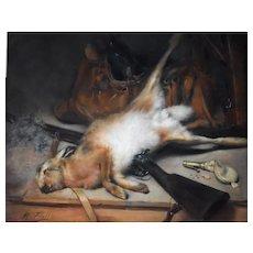 Still Life Pastel Painting, Original Framed Hunting Painting, Michel Fronti