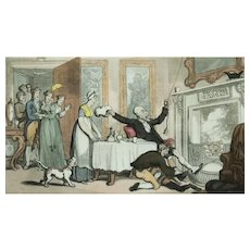 Thomas Rowlandson Print, Original 1813 Framed Print, Hand Coloured Doctor Syntax Print