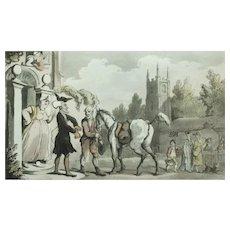 Thomas Rowlandson Print, Original 1813 Doctor Syntax, Hand Coloured Print