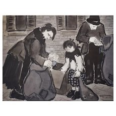 French Vintage Watercolour, Original Scene Watercolour Painting, Félicie Engrand