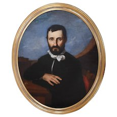 19th Century Portrait of a Man, Oil on Canvas Oval Painting, Circa 1860