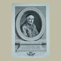 Vincenzo Vangelisti, Original Print Portrait, Ca 1780 Portrait of a Bishop