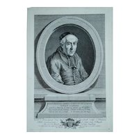 Vincenzo Vangelisti, Original Print Portrait, Ca 1780 Portrait of a Bishop