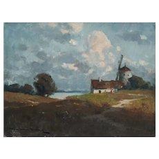 Circa 1905 Windmill Landscape Painting, Endre Komaromi-Kacz (1880-1969)