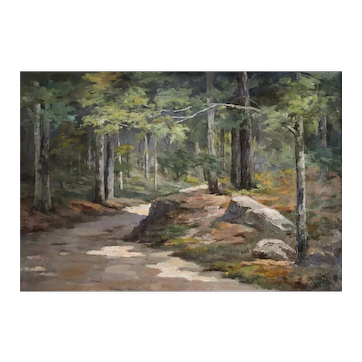 1907 Oil Landscape Painting, Forest Painting,  French Woman Artist Blanche Louppe