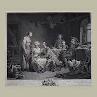 Original French Engraving, 1784 Framed Print, Genre Scene Charles Bervic