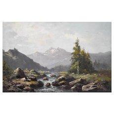Oil Painting Landscape, Circa 1870 Mountain Painting, Leberecht Lortet (1828-1901)