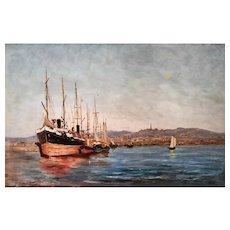 Marine Oil Painting, French Harbour Painting, Jean Louis Verdié (1845-1937)