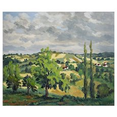 Oil Painting Landscape, French Vintage Painting, Jean Joly (1900-1952)
