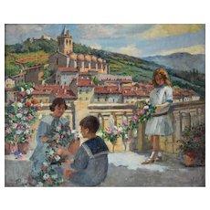 Genre Scene Painting, Framed Family Portrait Ca 1915, Charles Bergès (1851-1941)