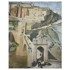 Vintage Oil Painting, Toledo View, Woman Artist Hélène Delaroche (1907-1996)