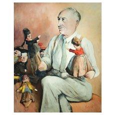 1950s Vintage Painting, Edouard Fonteyne, Self-Portrait, Unframed Oil Painting