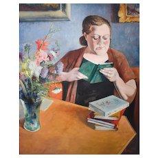1950s Vintage Painting, Edouard Fonteyne, Portrait of Mme Fonteyne