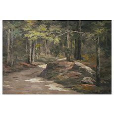 1900s Oil Painting Forest Landscape, French Woman Artist, Blanche Louppe