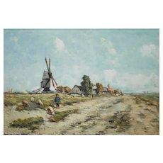 1860s Landscape Painting, R Vuillemot, French School, Landscape Oil Painting