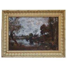 Maurice Lévis, River's Edge Oil Landscape Painting, Circa 1910