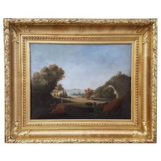 19th Oil on Canvas Painting, French Provence Landscape, Louis Gimon