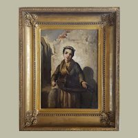19th Century Young Woman Oil Portrait, Agathon Leonard
