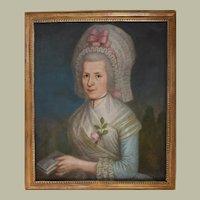 1790 French Woman Portrait Oil Painting, Pierre Jouffroy